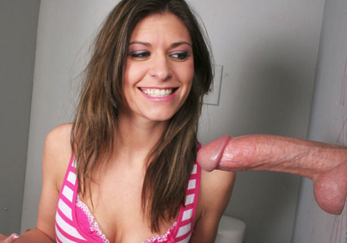 gh1 1 Cute brunette girl swallowing a thick gloryhole dick in the ladies room
